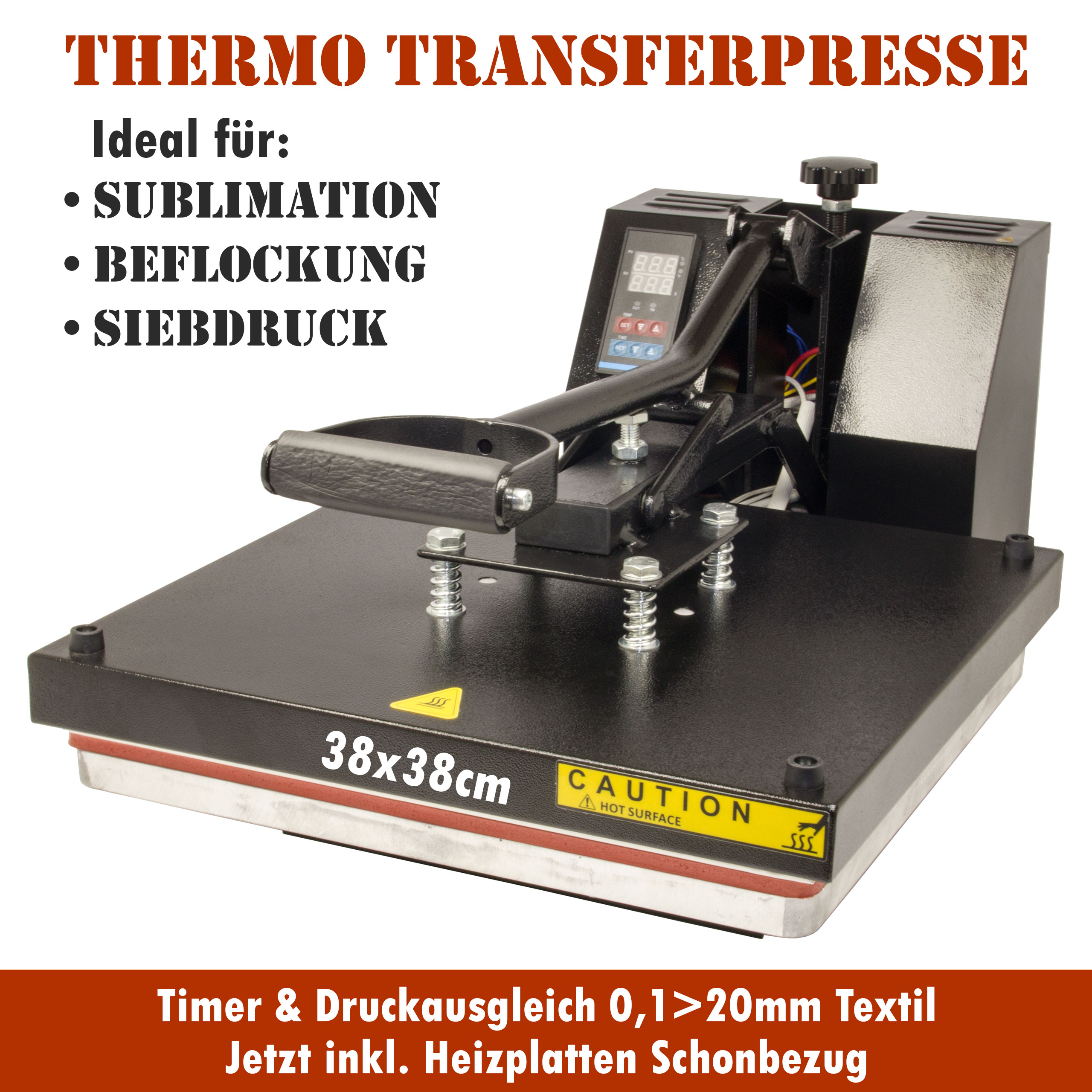 HobbyCut H001-S Transferpresse 38cm x 38cm Textilpresse 1800 Watt
