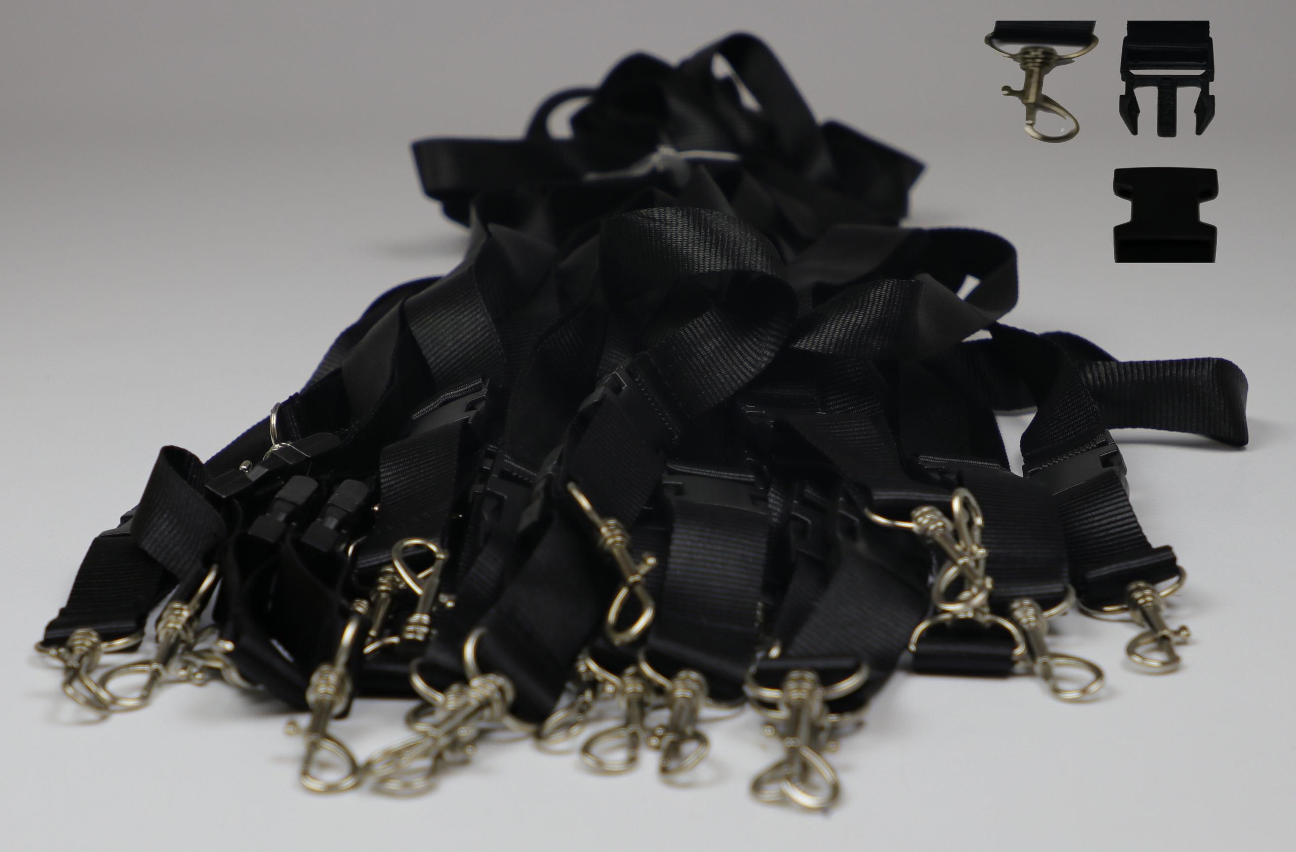 50x Schlüsselbänder schwarz Schlüsselanhänger teilbar 55cm mit Haken