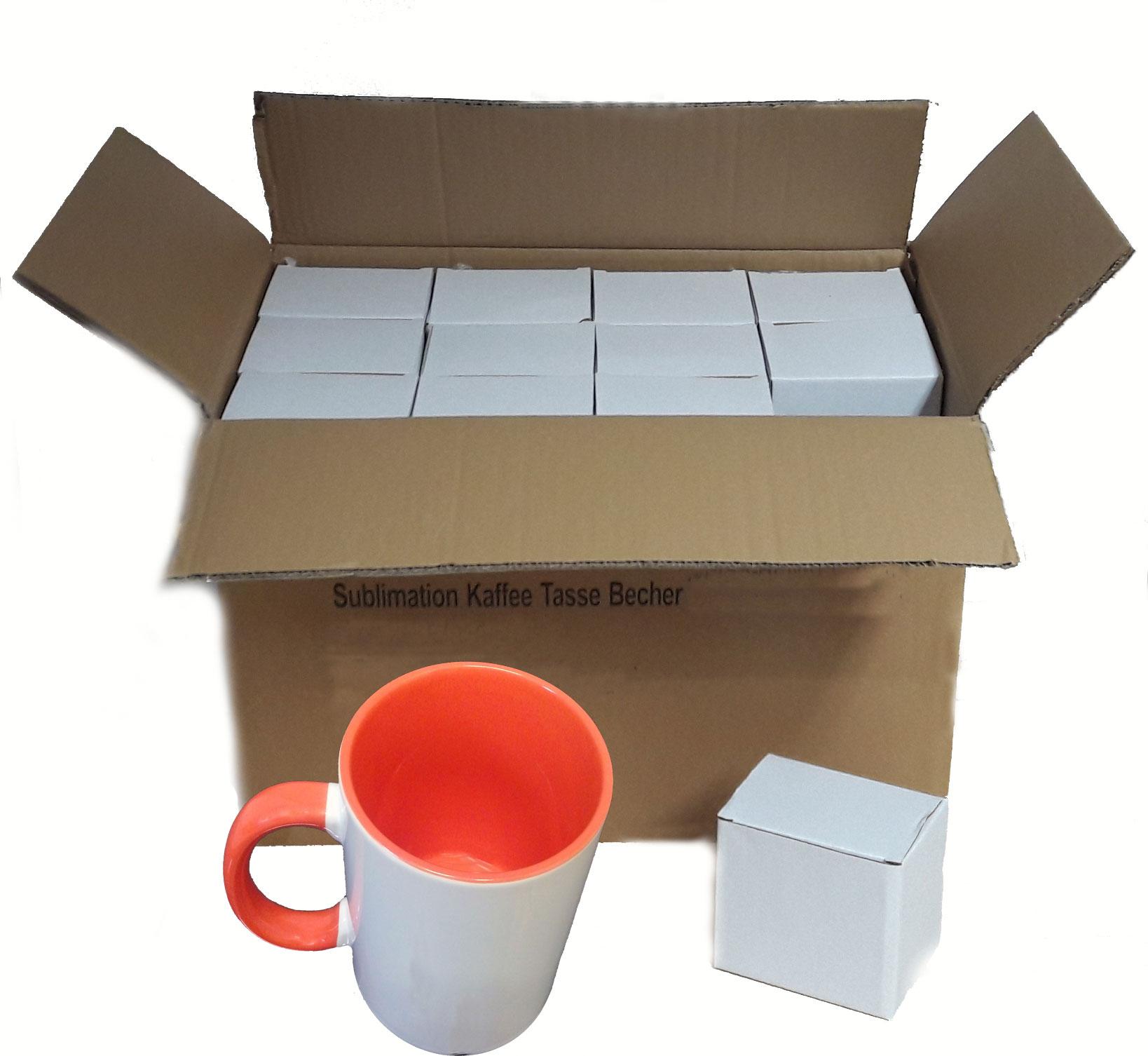 36 Stück Fototasse Sublimation Kaffee Tassen Becher WEISS - HENKEL ORANGE
