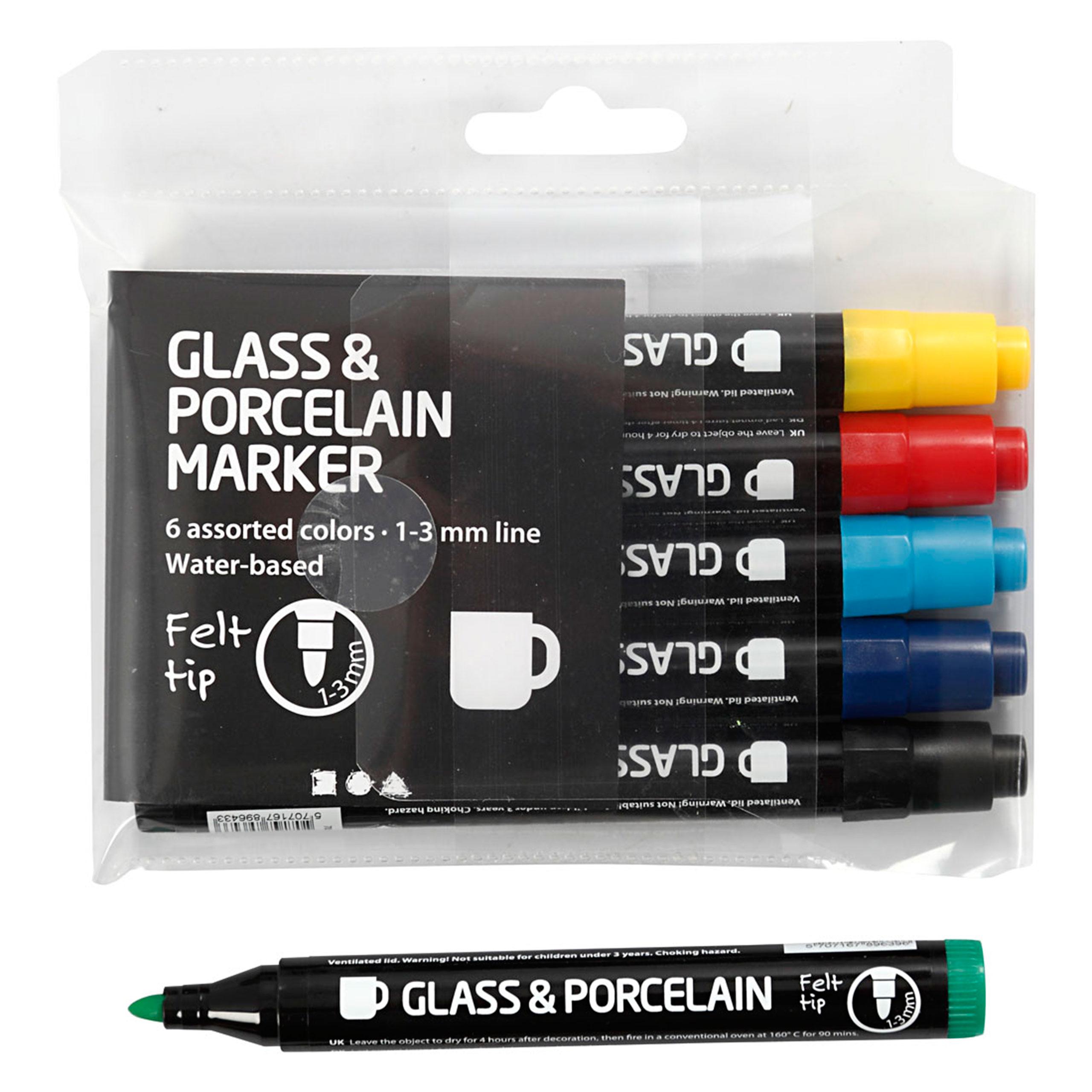 Glas und Porzellan Marker Set 6 Stück mit Spitze 1 bis 3 mm