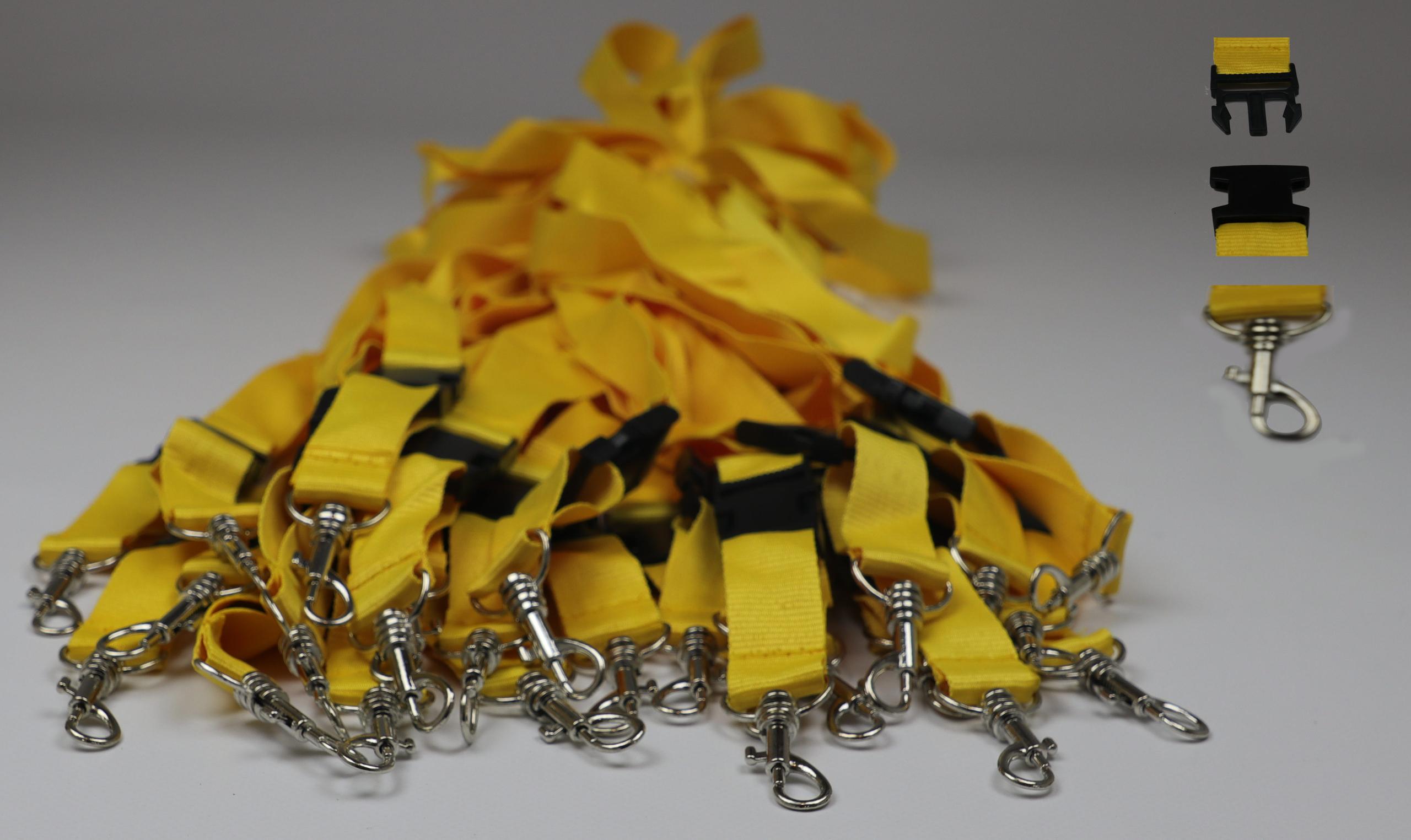 25x Schlüsselbänder gelb Schlüsselanhänger teilbar 55cm mit Haken